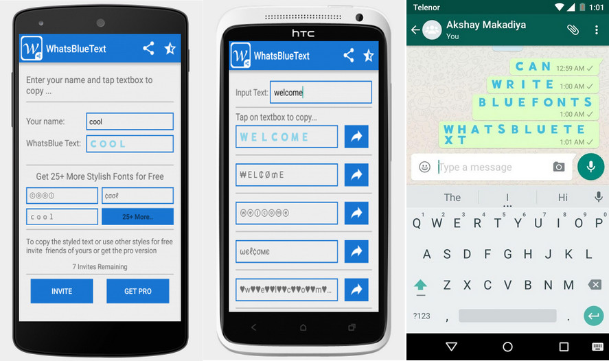 Blue Text Generator WhatsApp